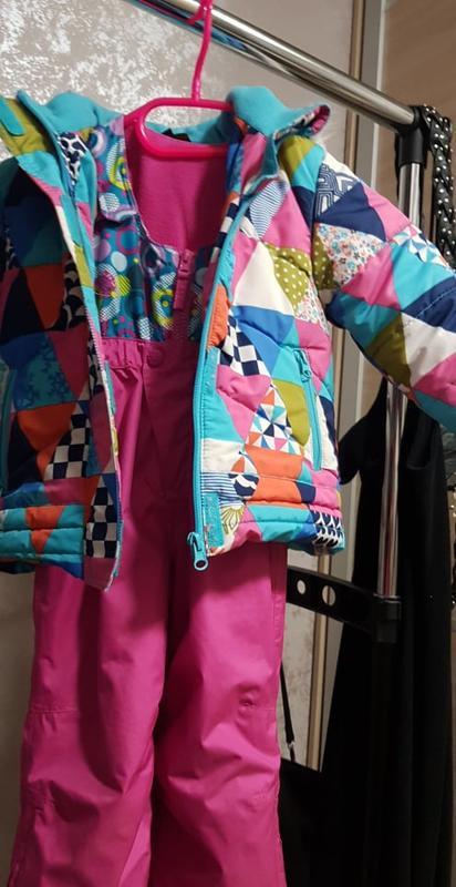 Зимний теплый комбинезон лыжный и куртка яркие 2-3 года kiabi
