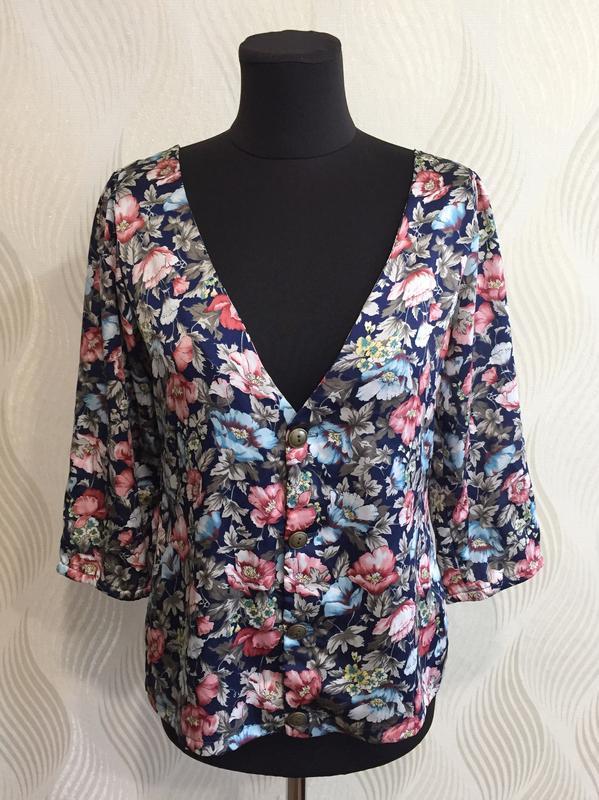Стильная блуза в винтажном стиле с цветочным принтом many bell...