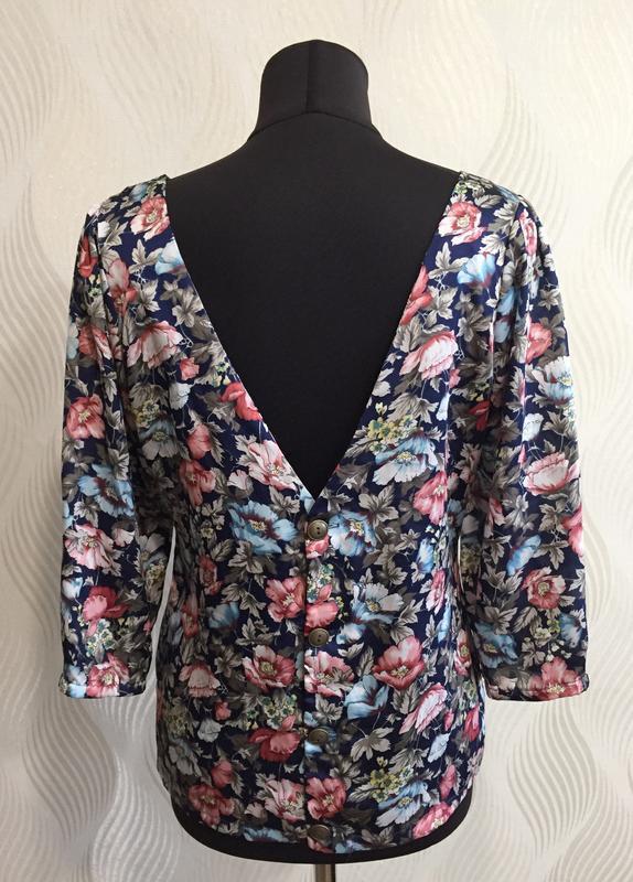Стильная блуза в винтажном стиле с цветочным принтом many bell... - Фото 5