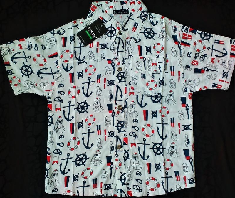 Нарядная летняя рубашка на мальчика моряк 8,9,10,11,12 лет