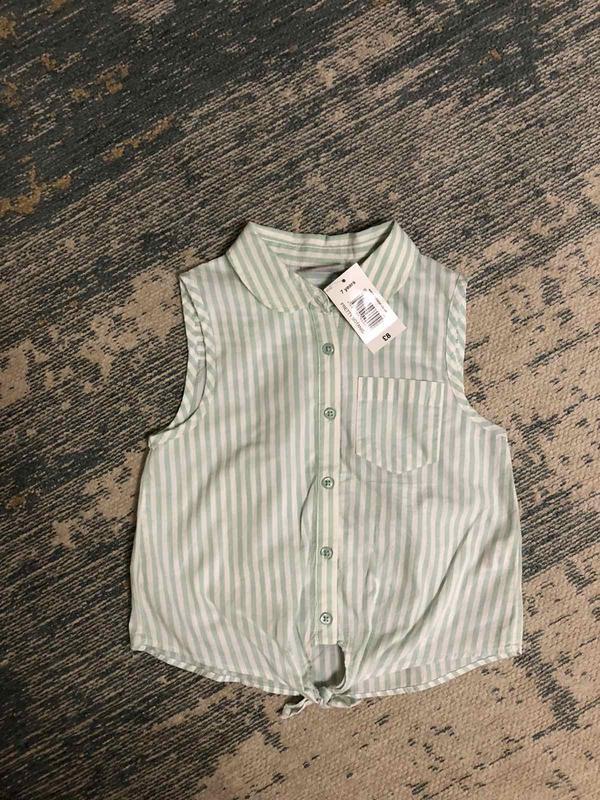 Стильная рубашка в полоску с завязкой matalan на 7 лет, новая!