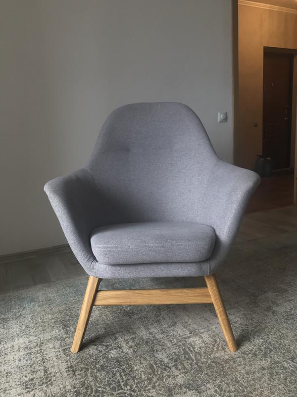 Крісло скандинавський стиль.Икея.Юск. Кресло серое