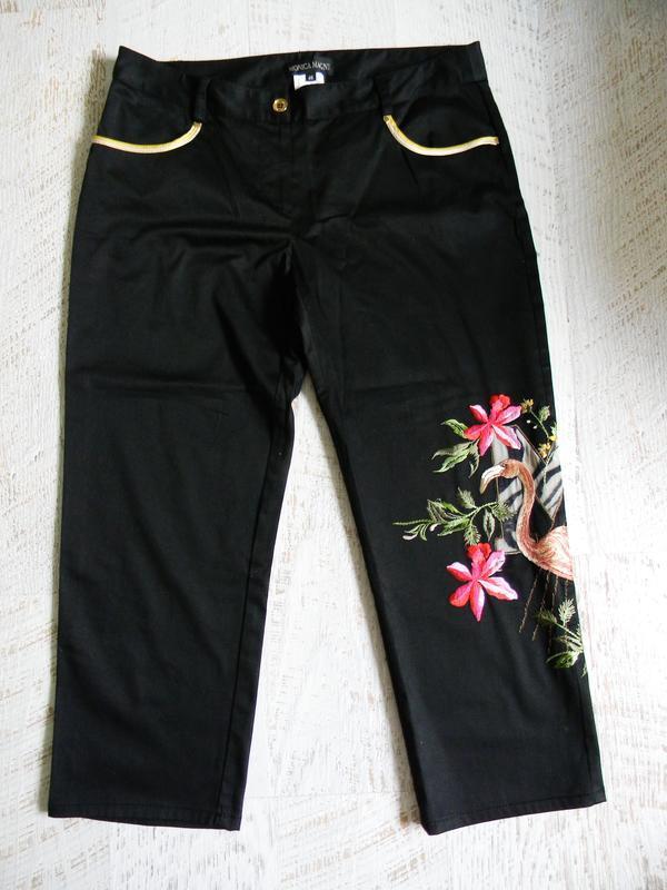 Итальянские черные брюки с вышивкой monica magni 46р.
