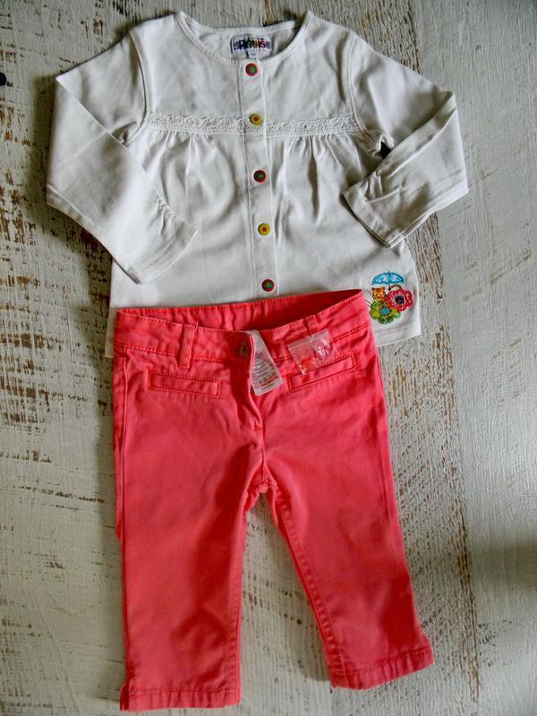 Стильные коралловые брюки jacadi 2-3 года