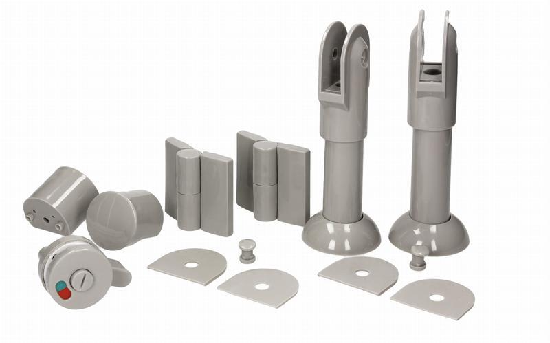 Фурнитура для туалетных перегородок - комплект 18/100 серый