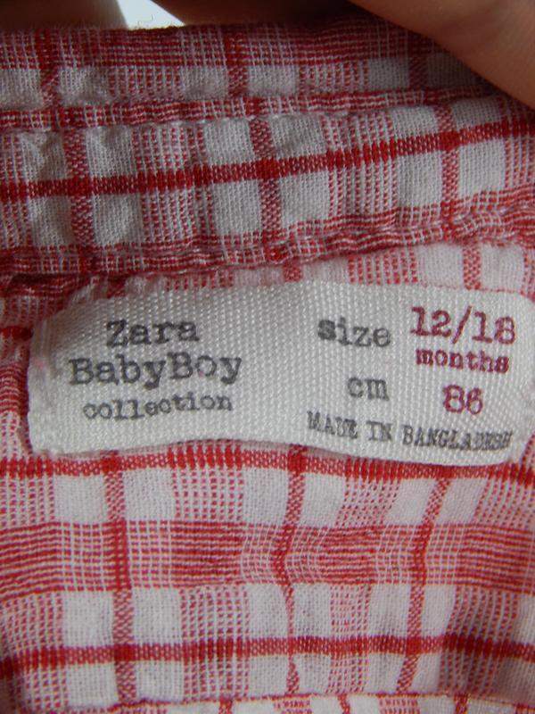 Рубашка в клеточку для крохи 12-18 месяцев - Фото 3