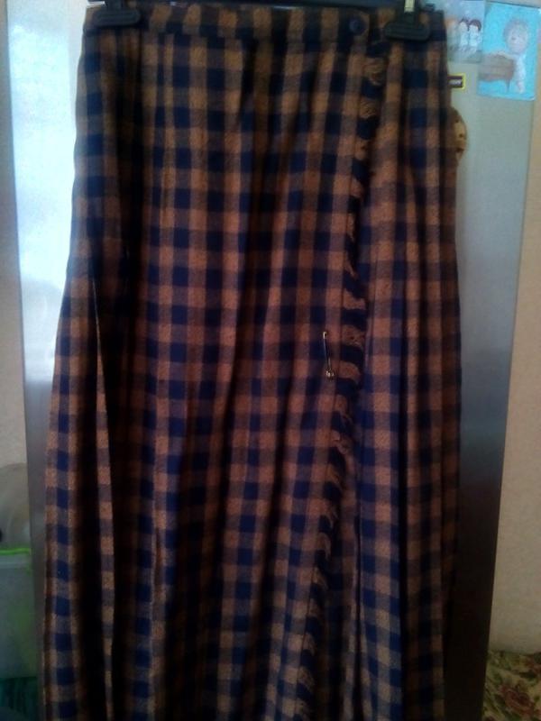 Коричневая юбка плиссе на запах на 46/48р             шерсть