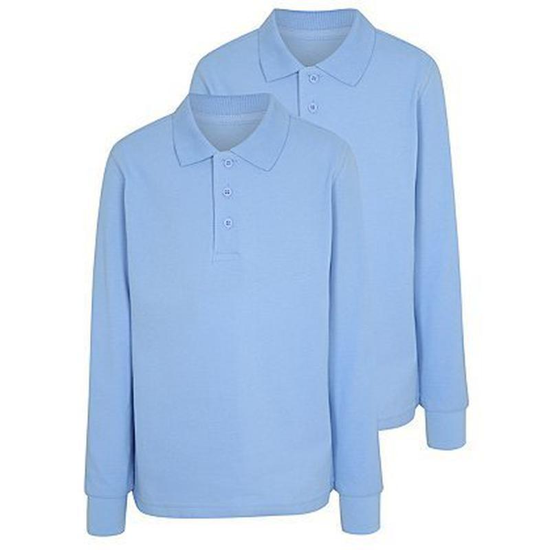 Футболка поло школьная голубая с длинным рукавом от 6 до 13 лет