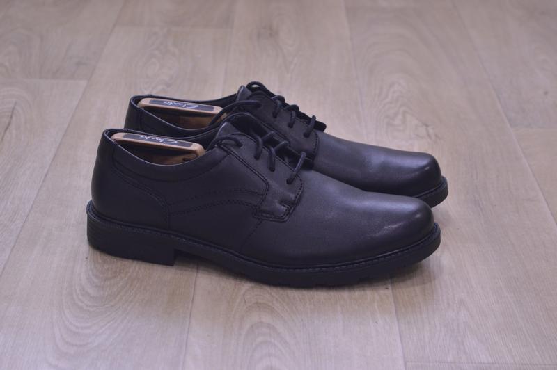 Мужские кожаные туфли clarks оригинал черные весна