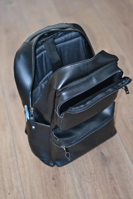Рюкзак для міста чоловічий / городской черный мужской экокожа - Фото 8