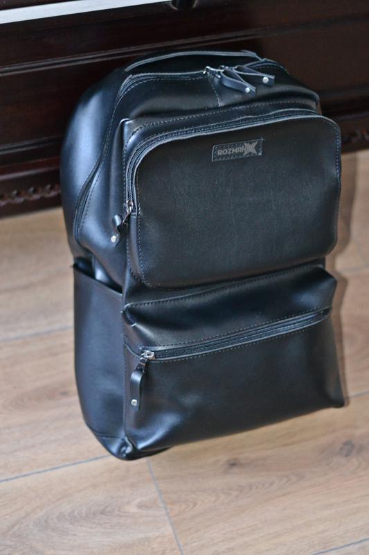 Рюкзак для міста чоловічий / городской черный мужской экокожа - Фото 9