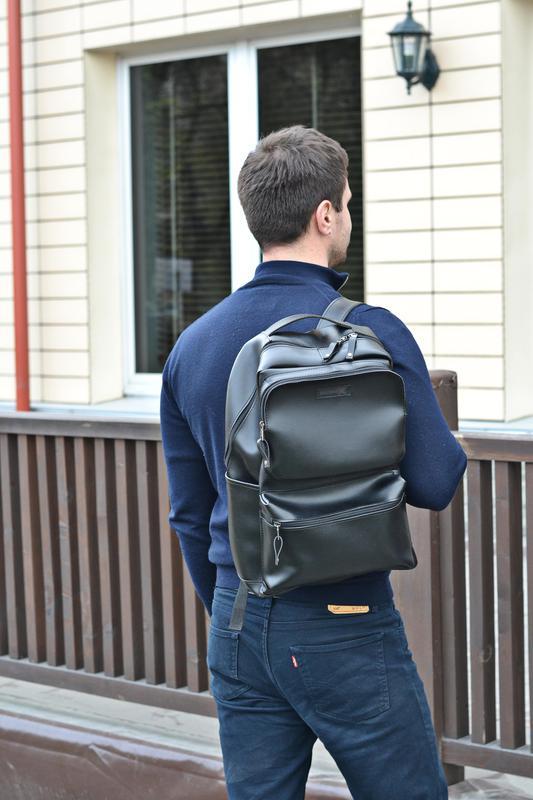 Рюкзак для міста чоловічий / городской черный мужской экокожа - Фото 15