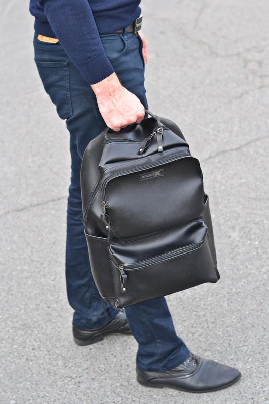 Рюкзак для міста чоловічий / городской черный мужской экокожа - Фото 12