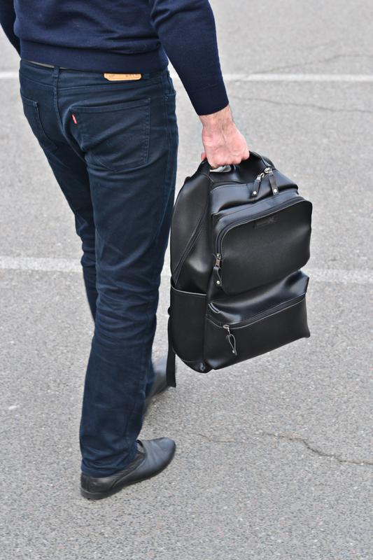 Рюкзак для міста чоловічий / городской черный мужской экокожа - Фото 13