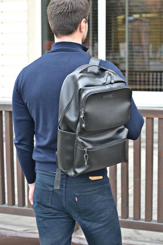 Рюкзак для міста чоловічий / городской черный мужской экокожа - Фото 11