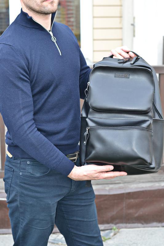 Рюкзак для міста чоловічий / городской черный мужской экокожа - Фото 14