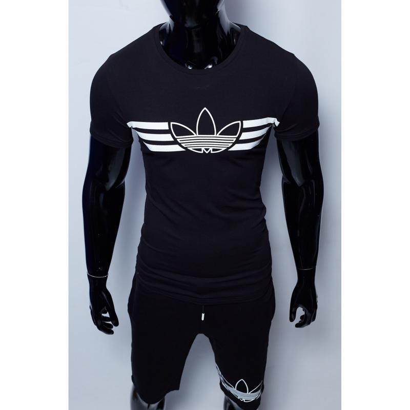 Костюм футболка с шортами мужской adidas черный в стиле бренд