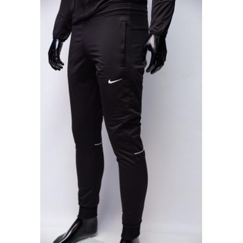 Костюм спортивный мужской nike  черный утепленный в стиле бренда - Фото 3