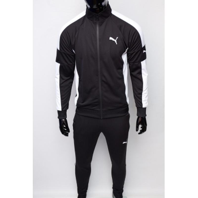 Костюм спортивный мужской pm  черный c белым в стиле бренда