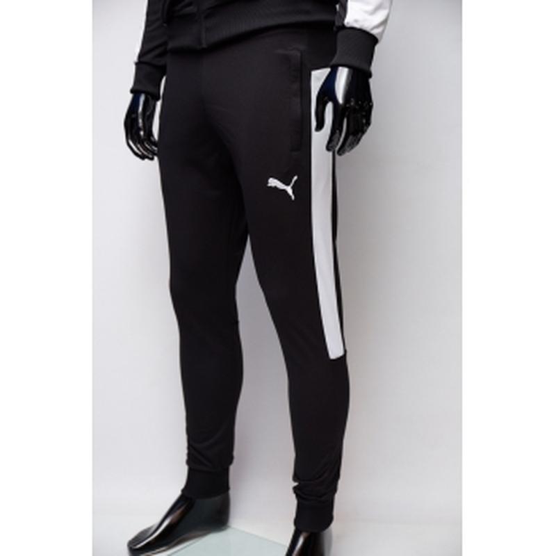 Костюм спортивный мужской pm  черный c белым в стиле бренда - Фото 4