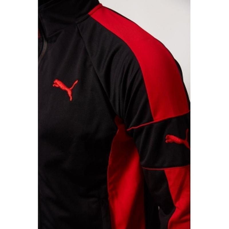 Костюм спортивный мужской pm  черный с красным в стиле бренда - Фото 3