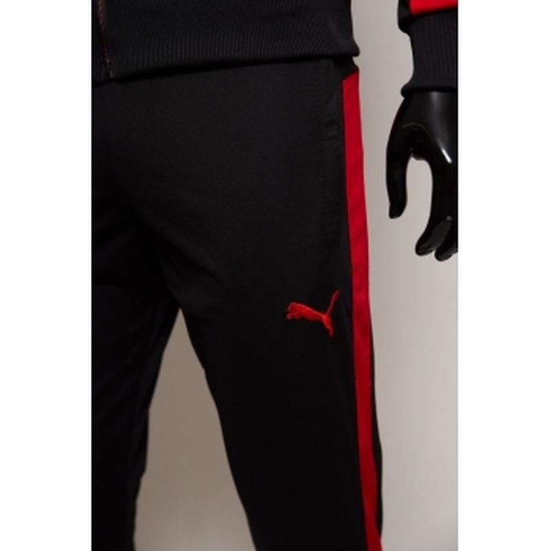 Костюм спортивный мужской pm  черный с красным в стиле бренда - Фото 4