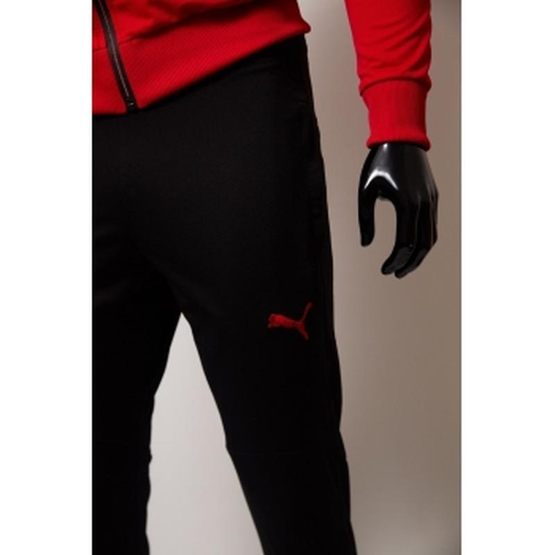 Костюм спортивный мужской pm  красный с черным в стиле бренда - Фото 4