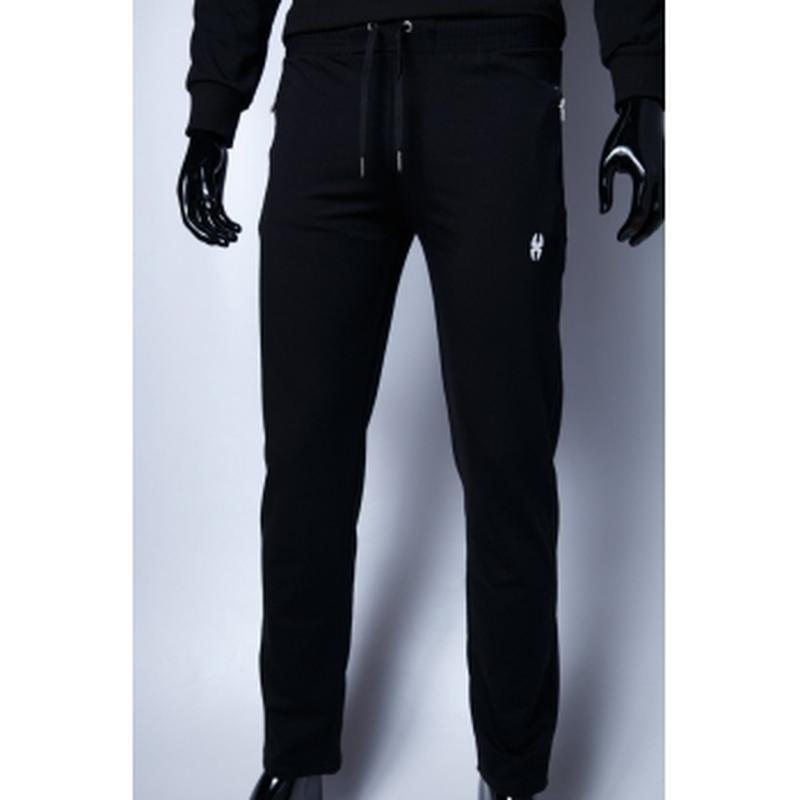 Спортивные штаны мужские  батал черный в стиле бренда