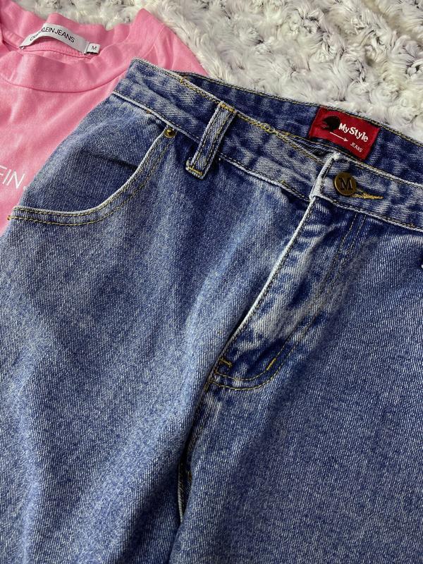 Высокие джинсы мом - Фото 3