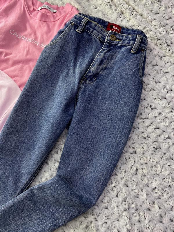 Высокие джинсы мом - Фото 4