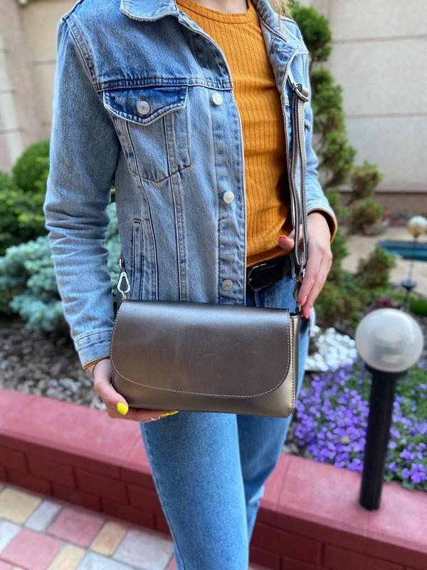 Женская кожаная сумка через плечо galanty бронзовая розовая жі... - Фото 3