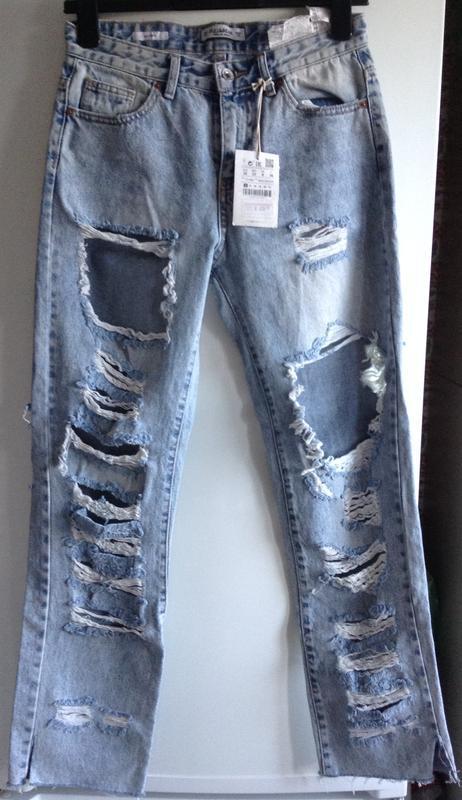 #розвантажуюсь джинсы мом мам mom fit бойфренды рваные pull&be... - Фото 7