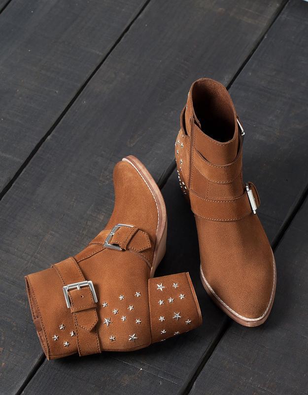 Кожаные замшевые ботинки ботильоны казаки  на широком каблуке ... - Фото 2