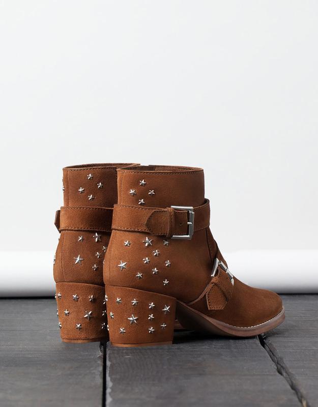 Кожаные замшевые ботинки ботильоны казаки  на широком каблуке ... - Фото 4