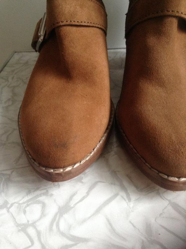 Кожаные замшевые ботинки ботильоны казаки  на широком каблуке ... - Фото 9