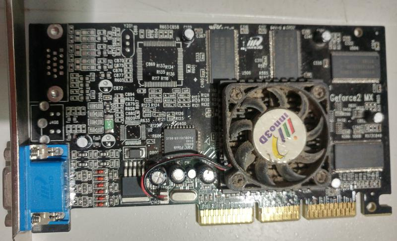 Рабочая видеокарта AGP nVidia GeForce2 MX400 32б