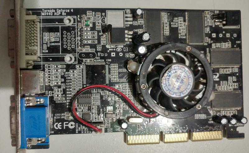 Рабочая видеокарта AGP nVidia GeForce4 MX440 64Мб