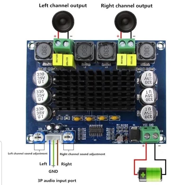 Усилитель звука  120W*2 TPA3116D2 Dual-channel Stereo Audio Ampli