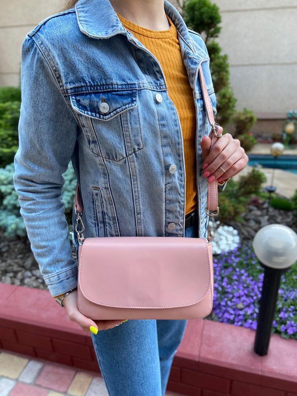 Женская кожаная сумка через плечо galanty бронзовая розовая жі... - Фото 2