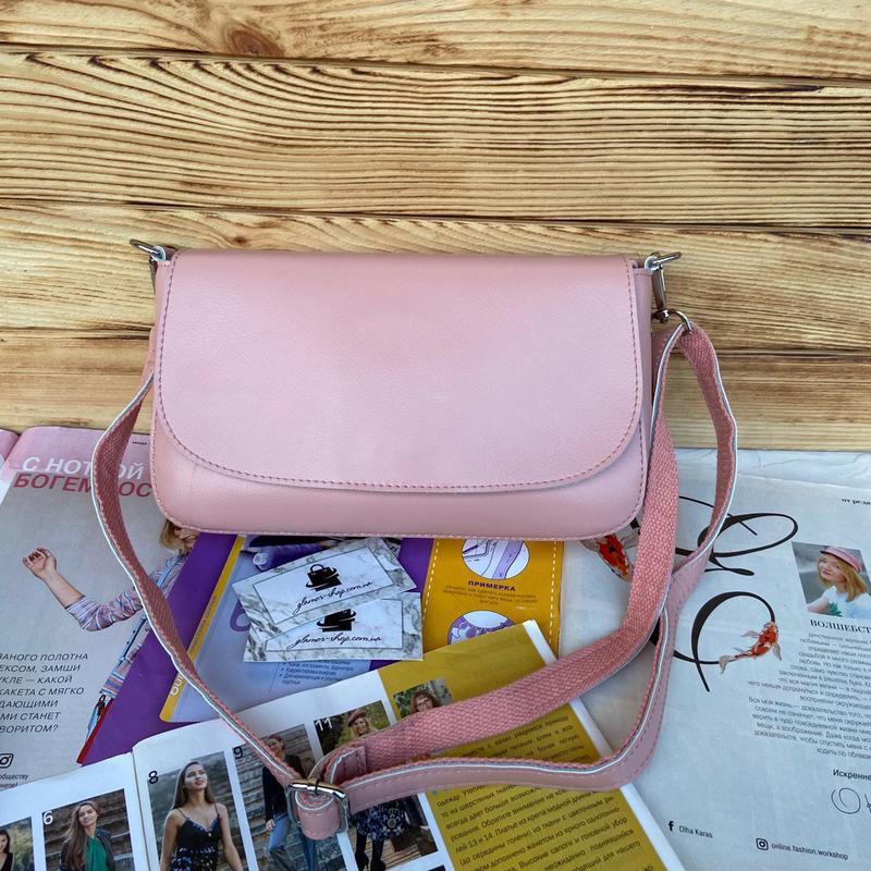Женская кожаная сумка через плечо galanty бронзовая розовая жі... - Фото 4