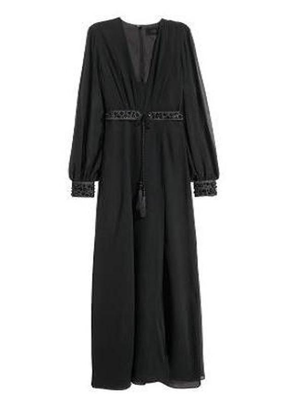 Платье новое вечернее шифоновое с бисером черное размер evr 34/38
