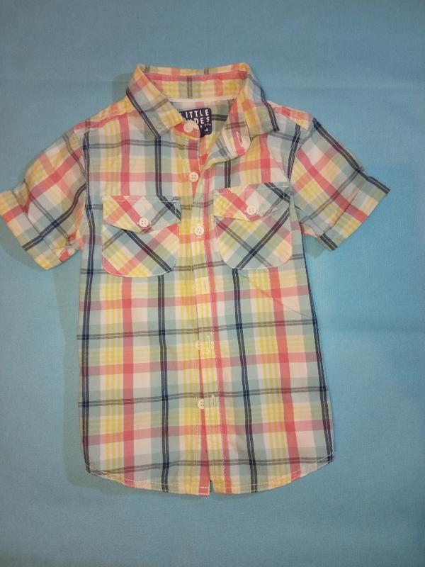 Яркая летняя рубашка в клетку хлопок