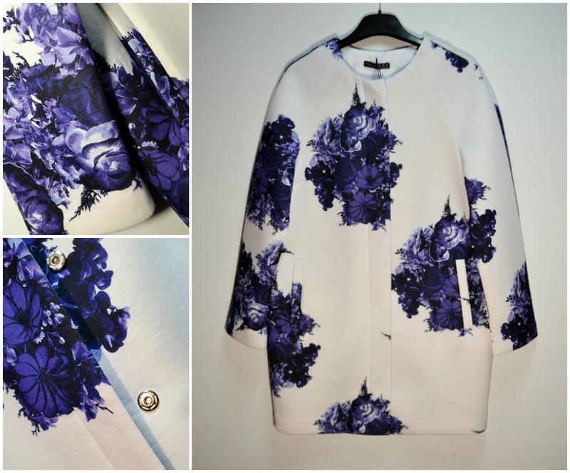 Стильный белый весеннее легкое пальто в цветах кардиган