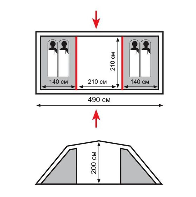 Палатка четырехместная кемпинговая Totem Hurone 4 v2 (TTT-025) - Фото 2