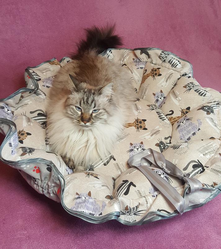 Лежанка для кота собаки лежак Kuzya Production Котики и лапки