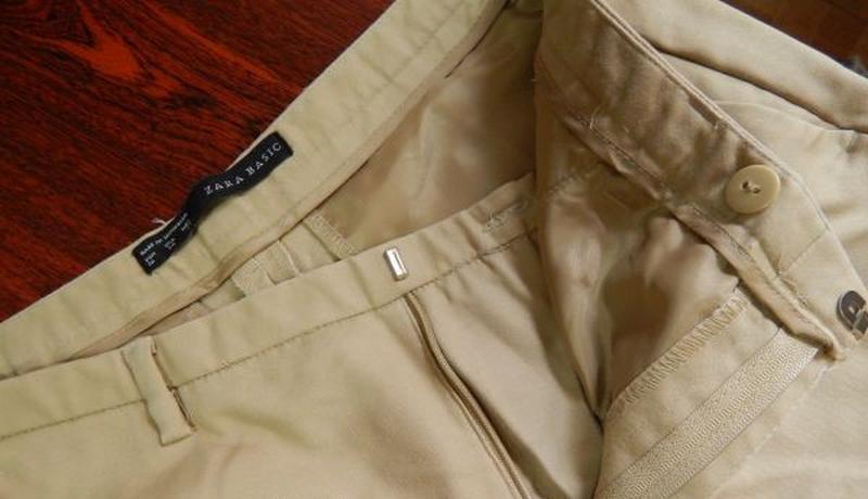 Классические испанские хлопковые бежевые брюки от zara basic - Фото 3