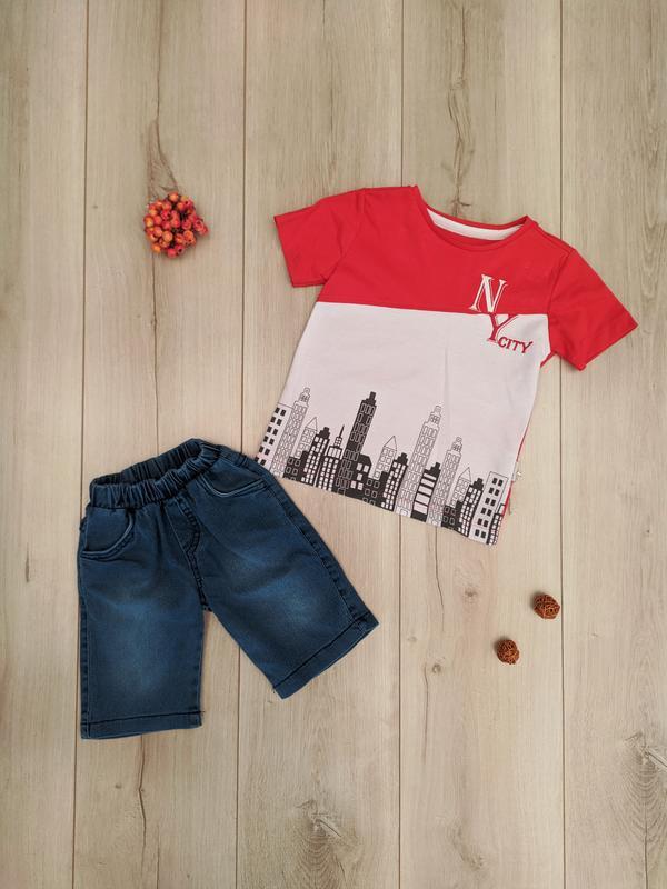 Костюм шорты джинсовые футболка для мальчика