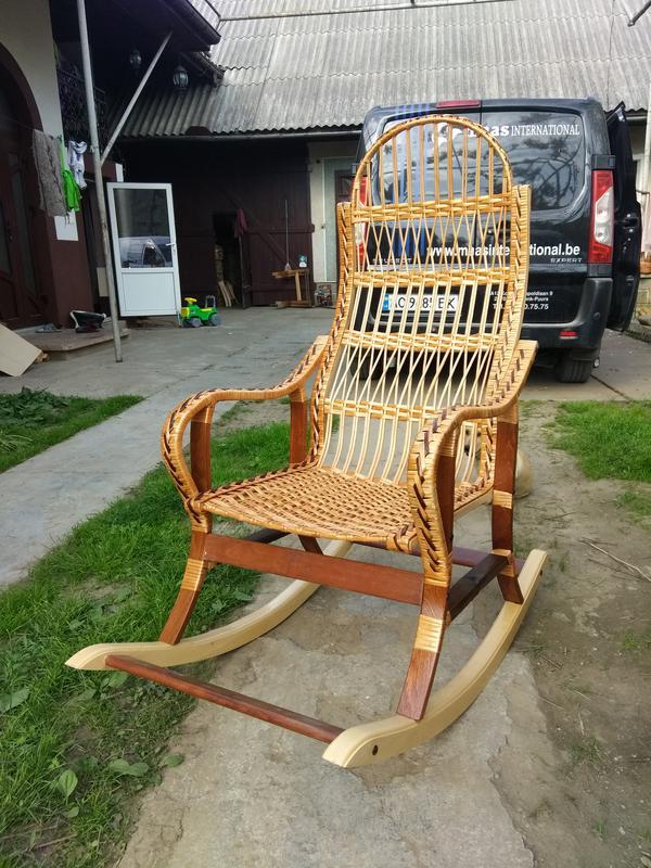 Кресло качалка буковое разборное из лозы от изготовителя - Фото 2
