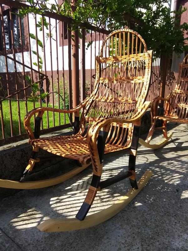 Кресло качалка буковое разборное из лозы от изготовителя - Фото 3
