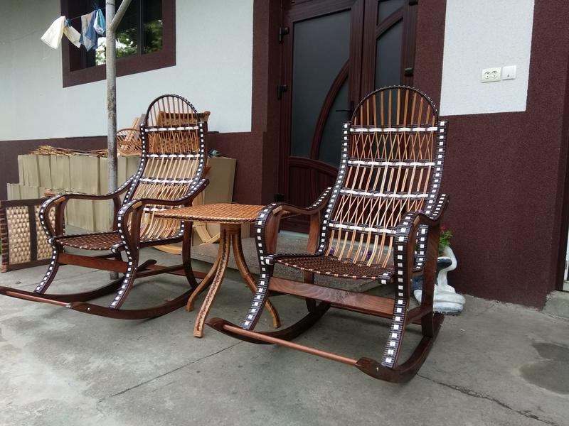Кресло качалка буковое разборное из лозы от изготовителя - Фото 5